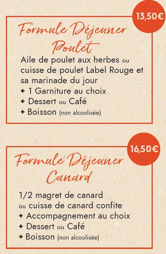 Formules Déjeuner Poulet et Canard
